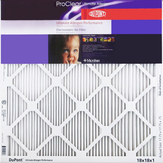 18x18x1 (17.75 x 23.75)  DuPont ProClear Ultimate Allergen Electrostatic Air Filter