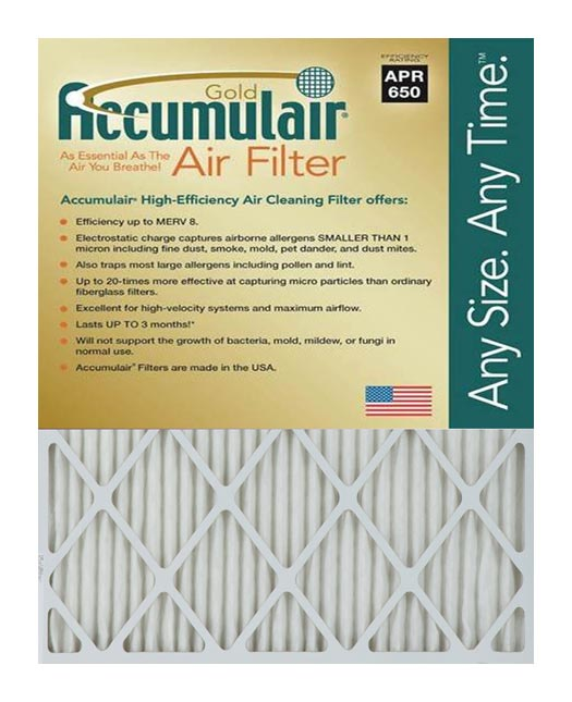 30x30x0.5 (Actual Size) Accumulair Gold 1/2-Inch Filter (MERV 8)