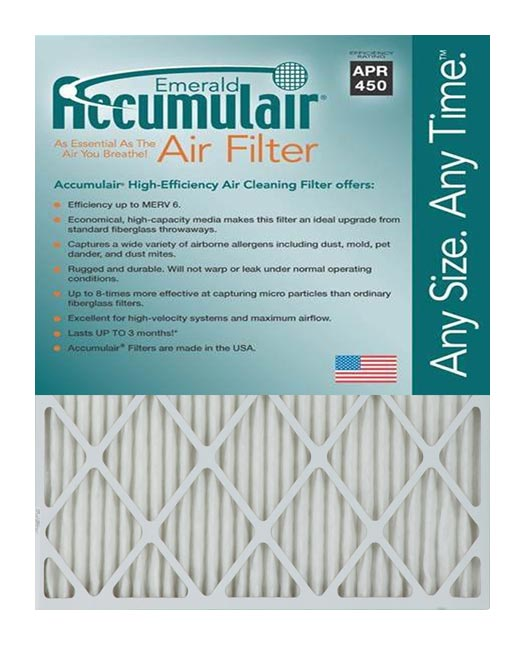 15.5x29x2 (Actual Size) Accumulair Emerald 2-Inch Filter (MERV 6)