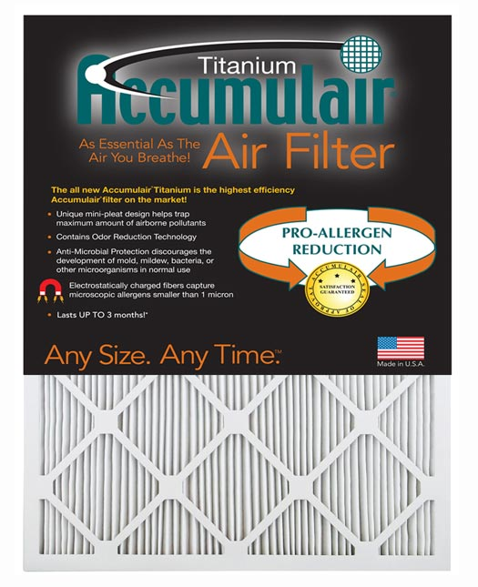 7.75×25.75×1 (Actual Size) Accumulair Titanium 1-Inch Filter (MERV 13)